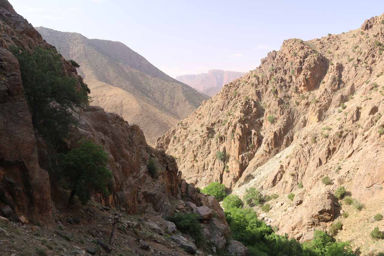 Looking downstream towards the rest of the rugged canyon we went up from the lookout of the Setti Fatma Waterfalls
