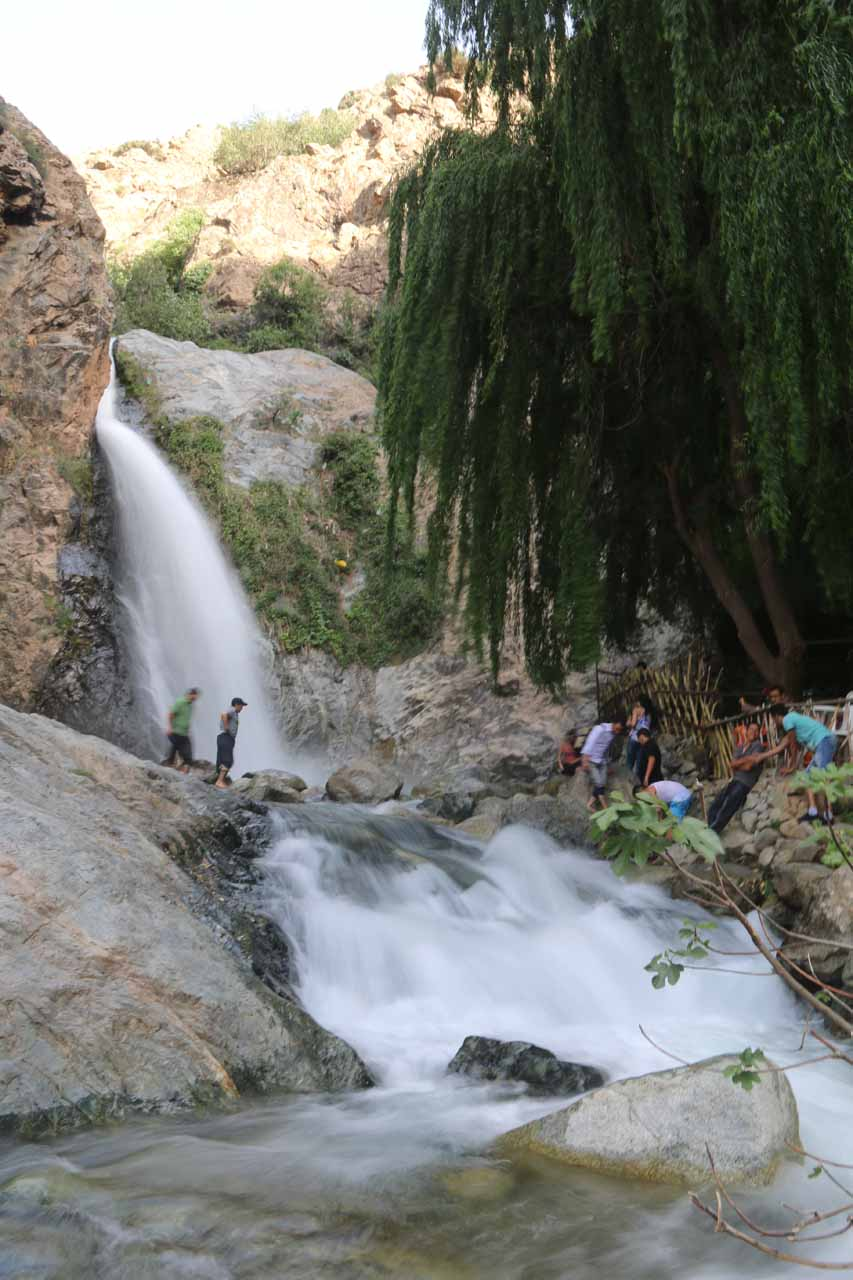 Looking back at the first Setti Fatma Waterfall, but this time with people in front for a sense of scale