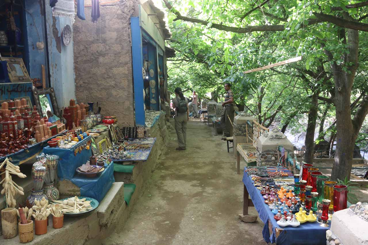 Julie passing through some souks seen along the trail to the Setti Fatma Waterfalls