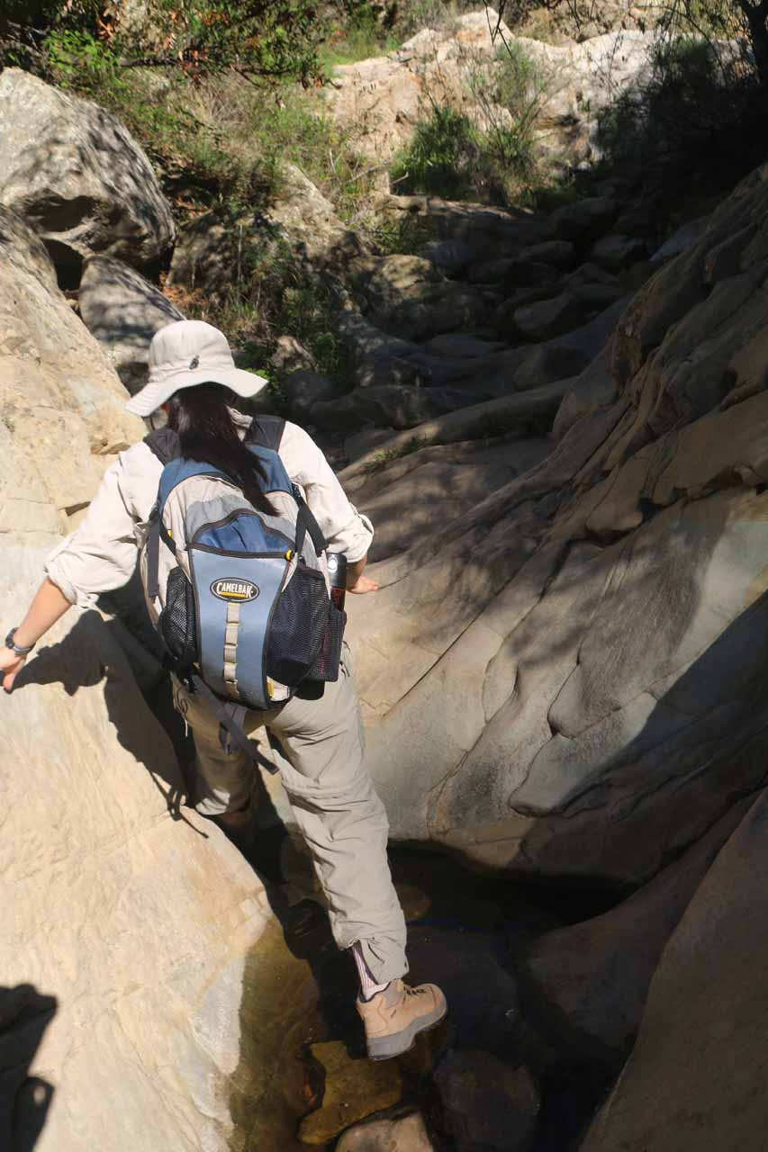 Julie stream scrambling on Mission Creek, which was made much easier as there was hardly any water present in the creek on our first visit in 2015