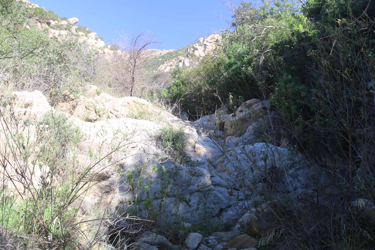 Approaching another bare section of rock where there's supposed to be a waterfall on Mission Creek