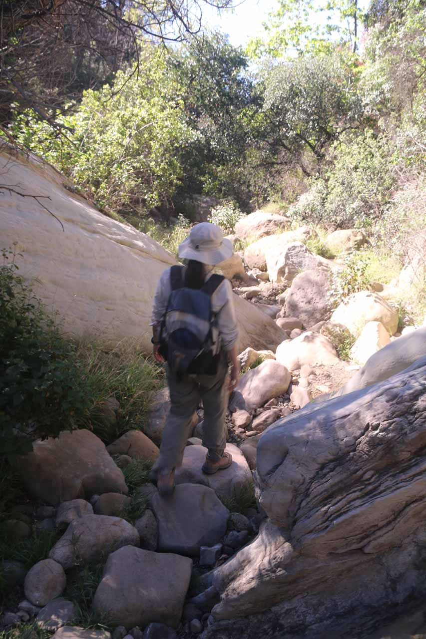 Julie stream scrambling as we made our way back