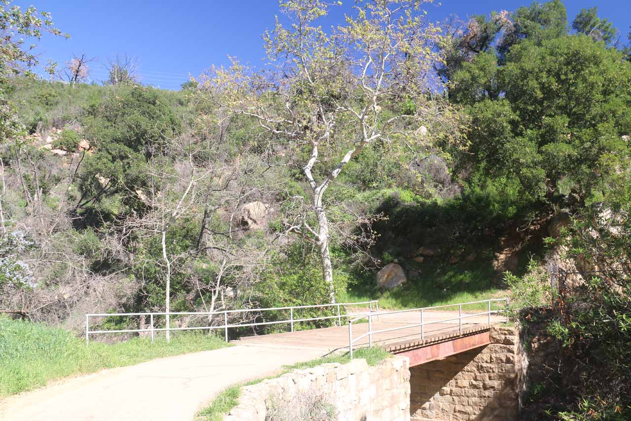 Looking back at the bridge over Mission Creek