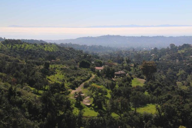 Seven_Falls_145_02152015 - While on the initial part of the Seven Falls hike, we got these views over some expensive homes towards the Pacific Ocean with the Channel Islands piercing above the haze in the distance