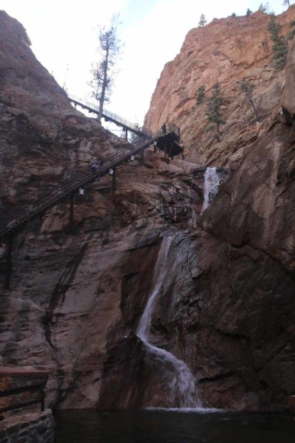 Seven_Falls_CO_034_03232017 - Looking up at the context of the base of Seven Falls and the steps ascending alongside of it