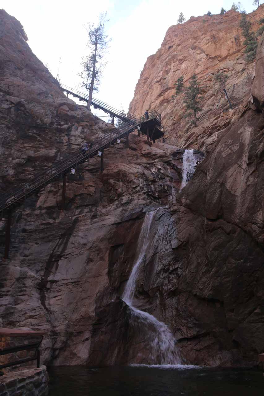 Looking up at the bottom three drops of Seven Falls