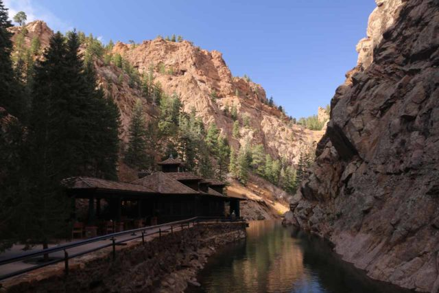 Seven_Falls_CO_038_03232017 - The Restaurant 1858 and South Cheyenne Creek near the foot of Seven Falls - an example of infrastructure built up by various owners at one point or another