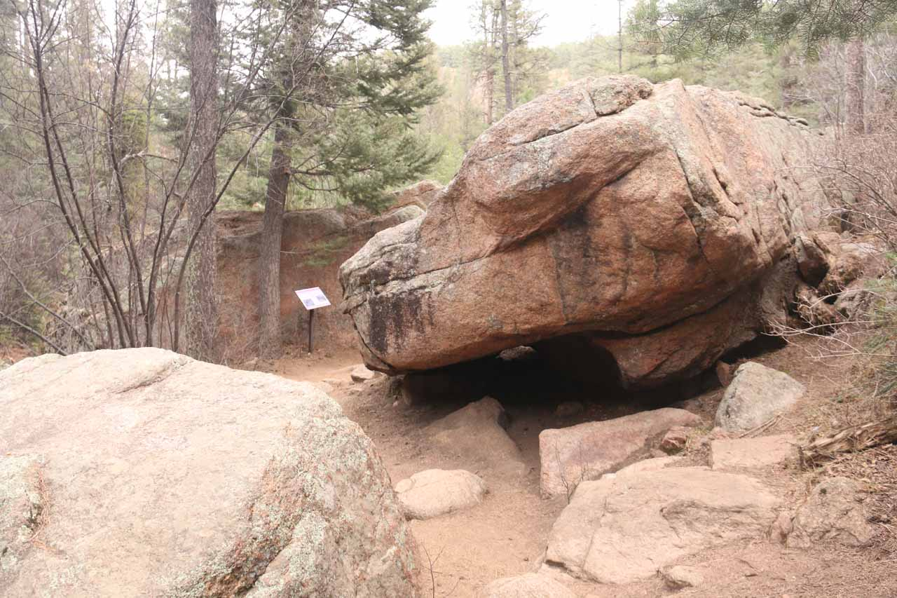 Checking out some of the interesting rocks strewn alongside the Midnight Falls Trail