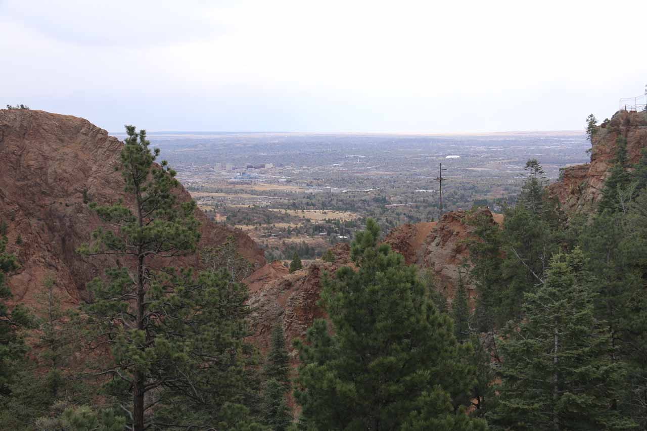 Looking out towards the mouth of South Cheyenne Canyon in the direction of Colorado Springs from Inspiration Point