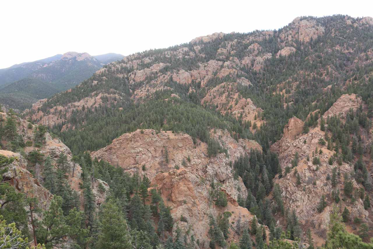 Looking towards the rugged head of South Cheyenne Canyon from Inspiration Point