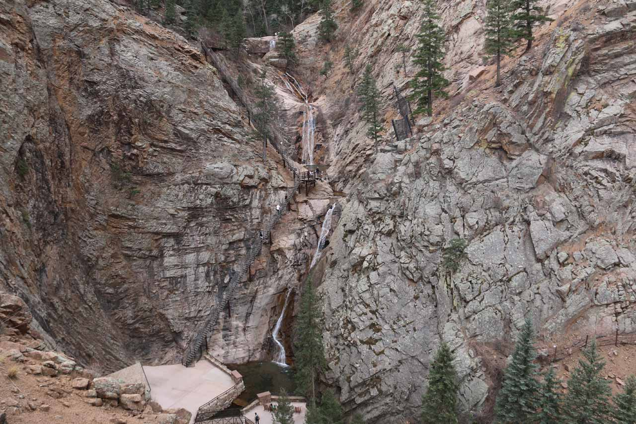 Just minutes from North Cheyenne Canyon Park was the impressive Seven Falls on South Cheyenne Creek, which was perhaps Colorado Springs' signature waterfall