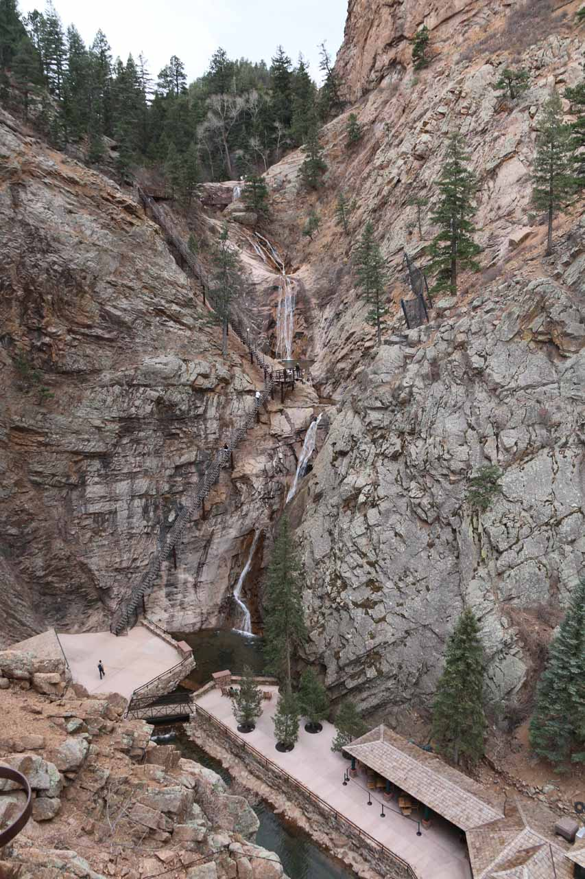 Full context of Seven Falls from the Eagle's Nest Lookout