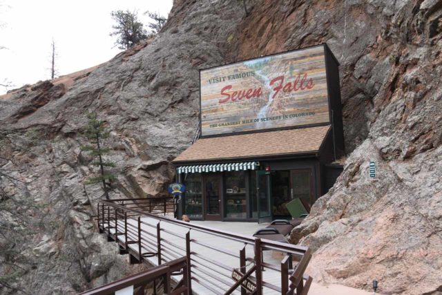Seven_Falls_CO_151_03232017 - Looking back at the Seven Falls shop and elevator at the Eagle's Nest Lookout