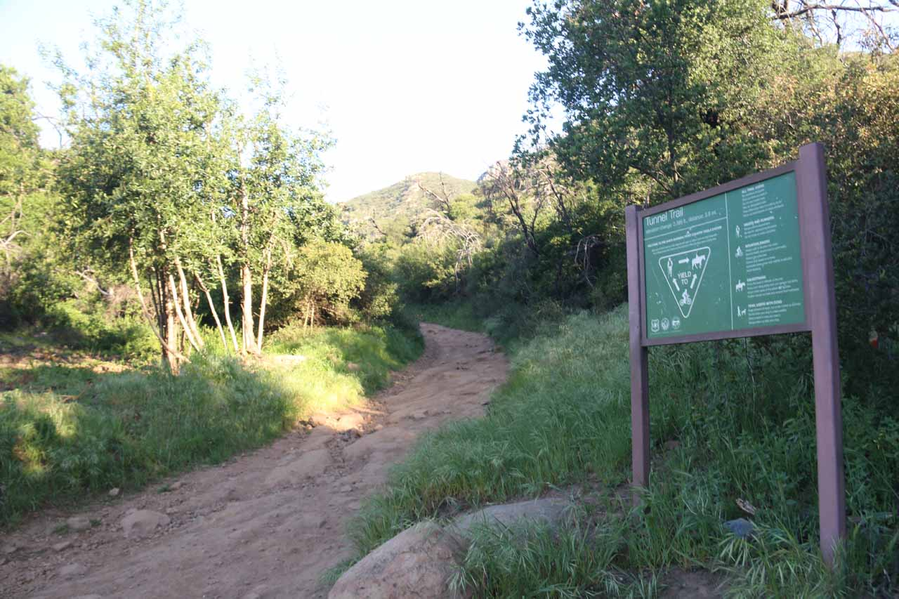 Closer look at the right-of-way signage by the Tunnel Trail just as the pavement ended
