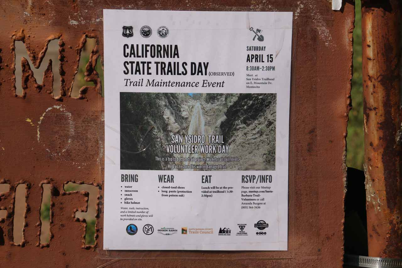 On the gate at the Tunnel Trailhead, I noticed this ad to do trail work on the San Ysidro Falls Trail