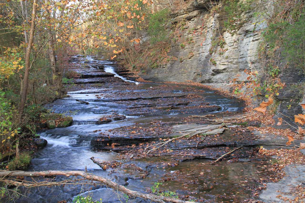 Looking upstream from the footbridge at a small cascade