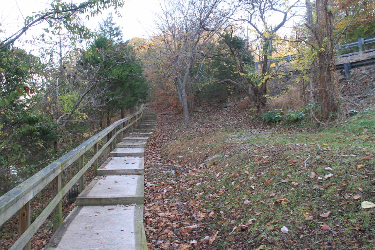 Steps leading to the sanctioned overlook