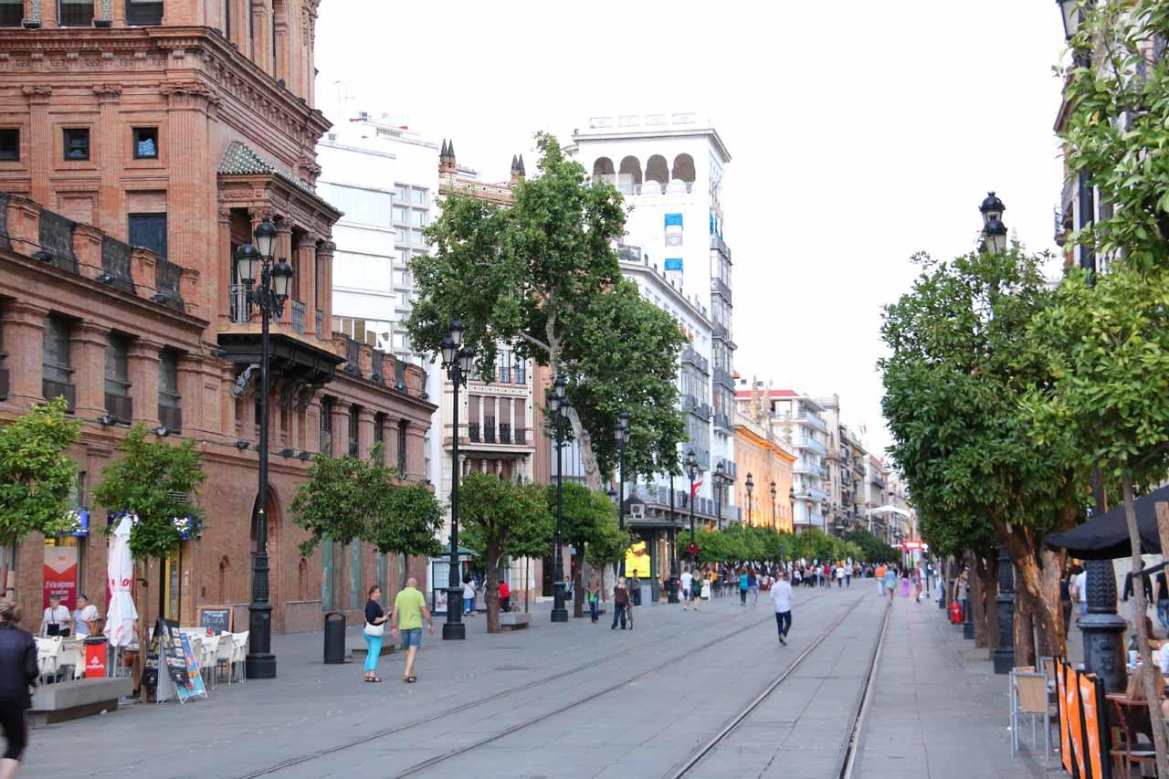 Walking along the Avenida de la Constitucion