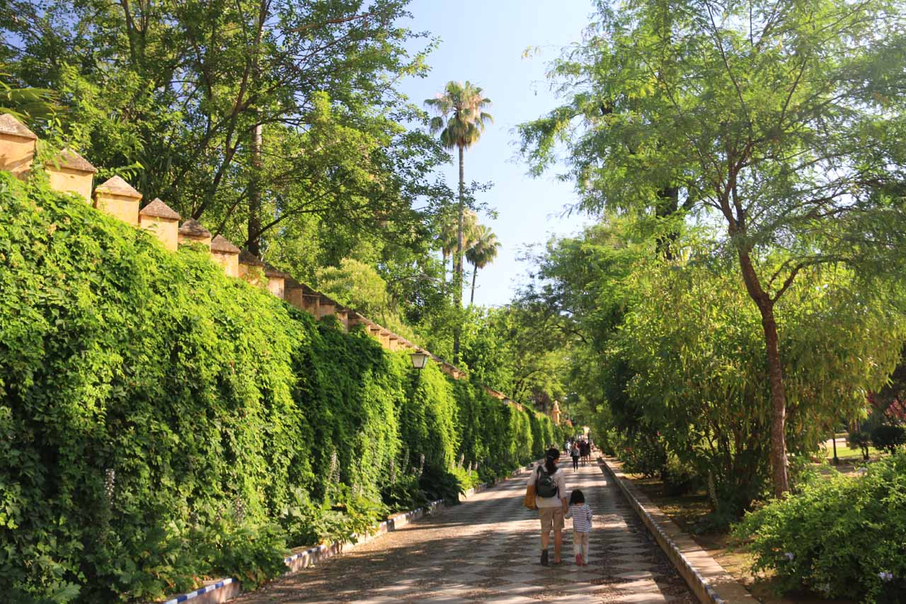 Accidentally walking through the Jardines del Murrillo on the outskirts of the Jardines del Alcazar