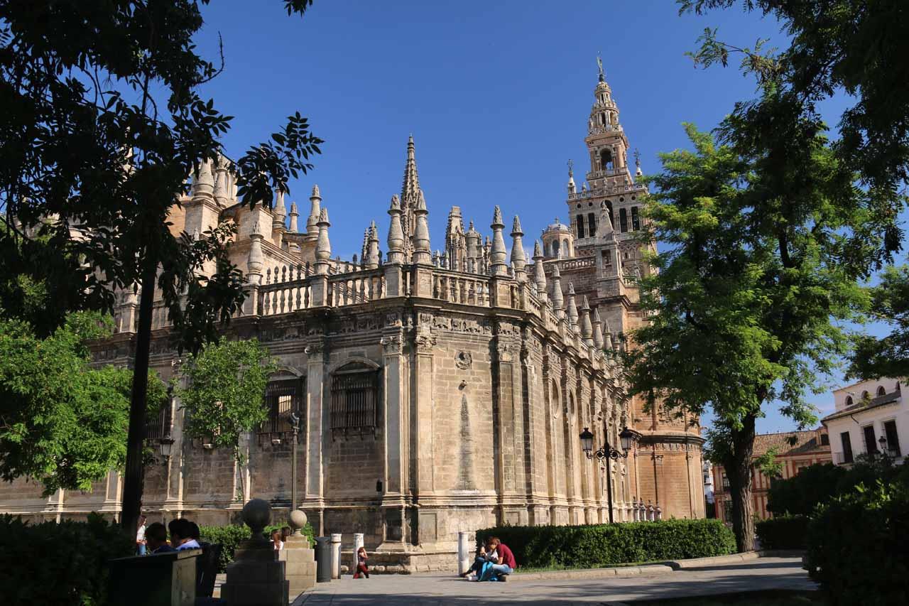 Looking back at the Catedral de Sevilla from the entrance to the Real Alcazar de Sevilla