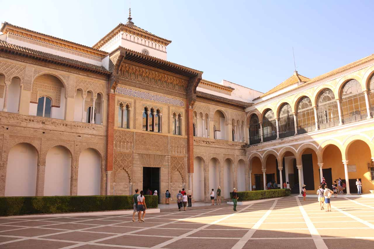 A large courtyard near the start of our visit to the Real Alcazar de Sevilla