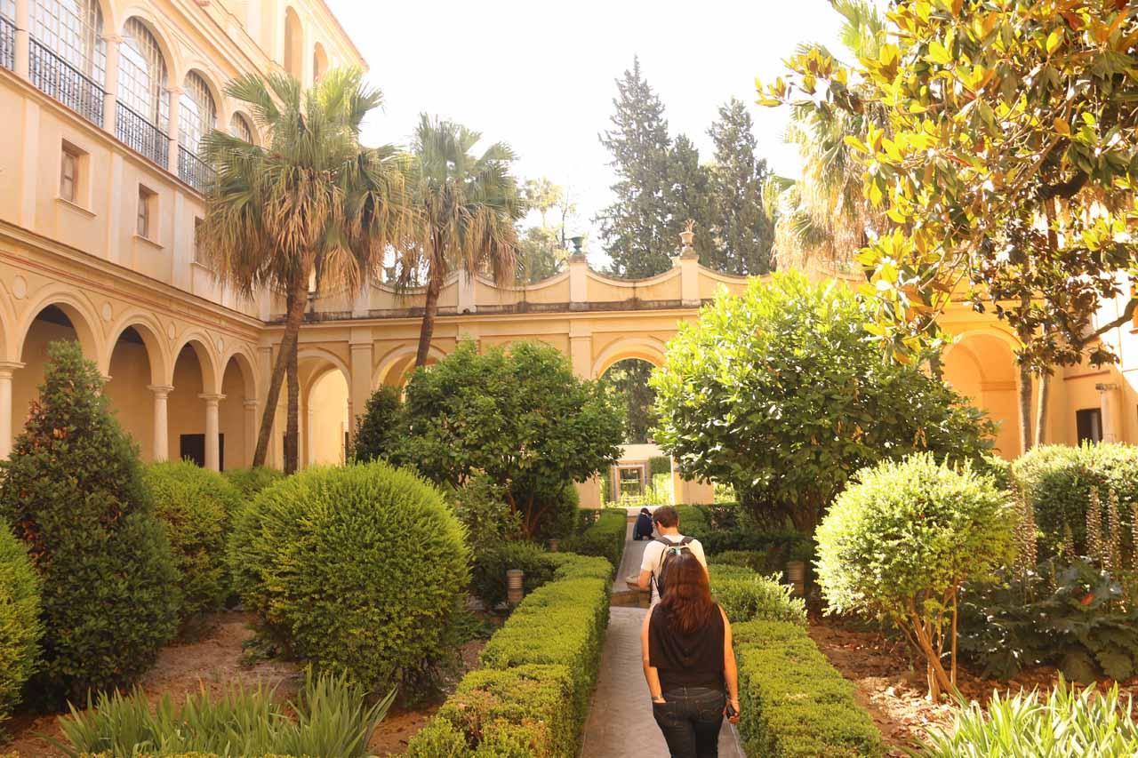 An attractive garden within the Real Alcazar de Sevilla