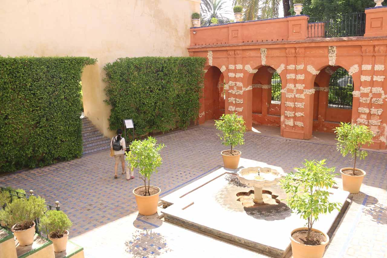 Within the elaborate gardens of the Real Alcazar de Sevilla