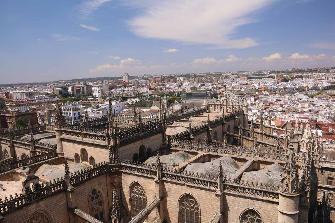 Looking over the rest of the Sevilla Cathedral from atop the Giralda Bell Tower