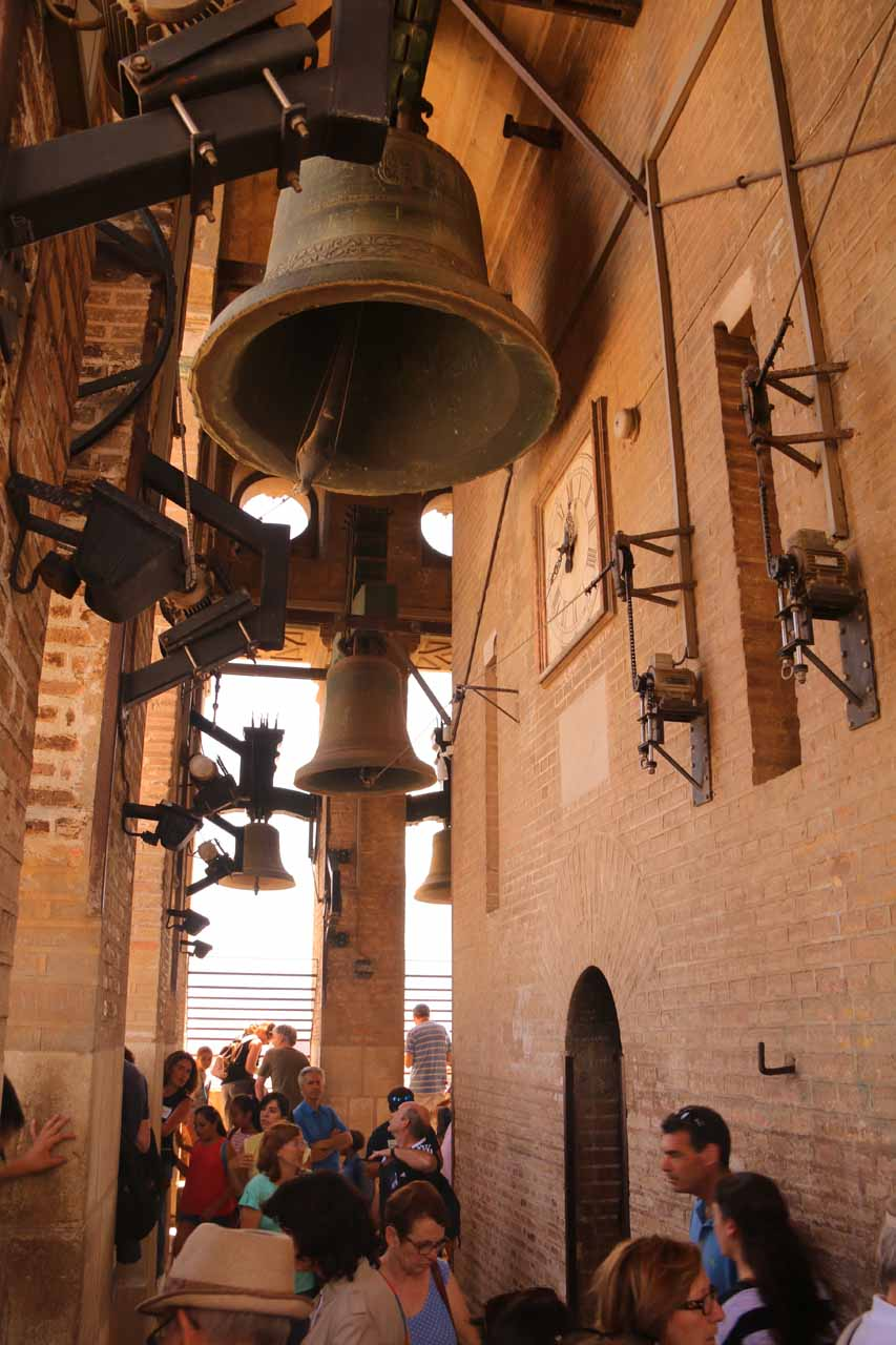 Amidst the very crowded confines of the Giralda Bell Tower
