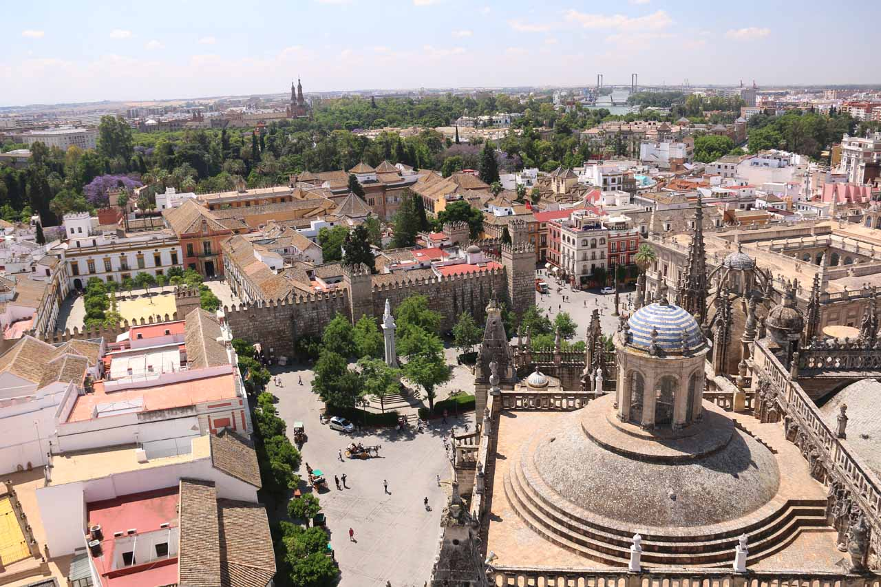 While we were in Sevilla, we visited the Catedral de Sevilla where we also had access to go up the Giralda Bell Tower and get this view over much of the city