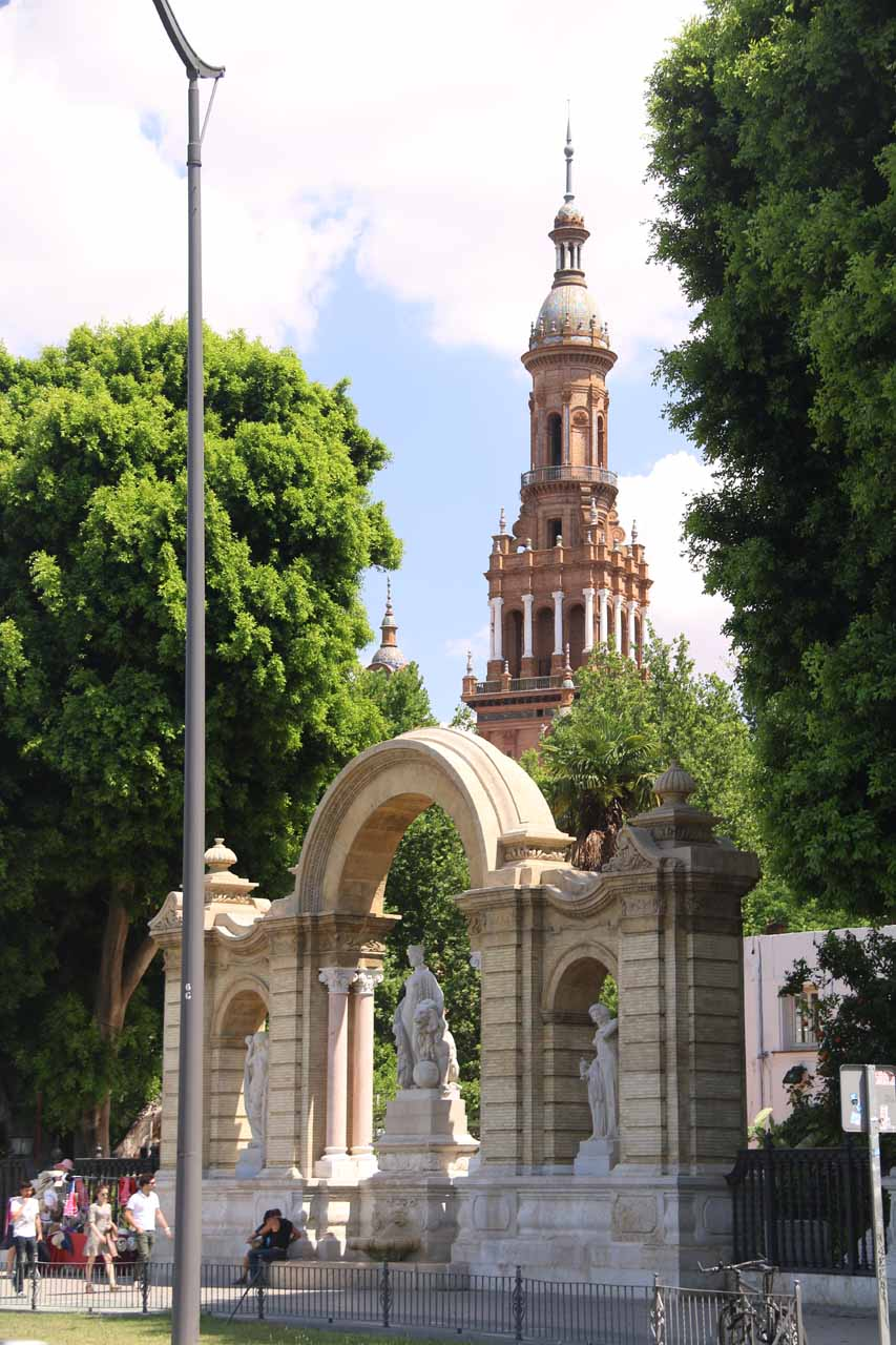 About to approach the Plaza de Espana in Sevilla