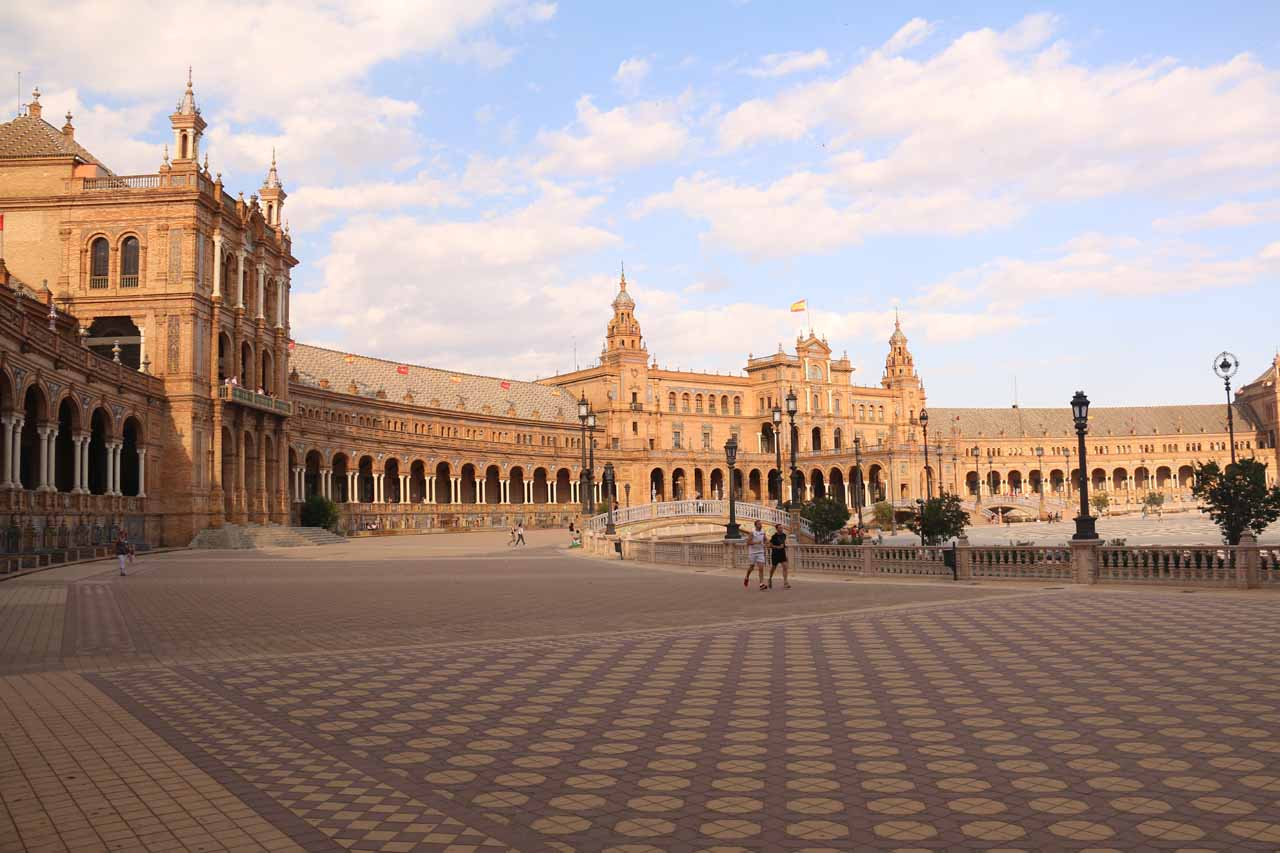 Enjoying our last moments of the Plaza de Espana before heading out for dinner on our last night in Sevilla