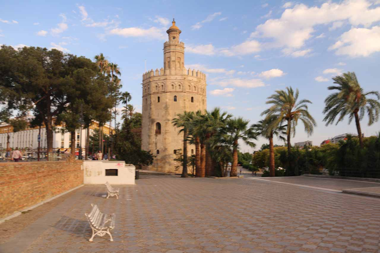 At the Torre del Oro while some kids were around skateboarding