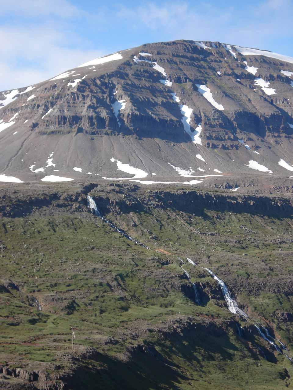 Julie took her own photo of that large cascade seen from the mountain pass above Seyðisfjörður