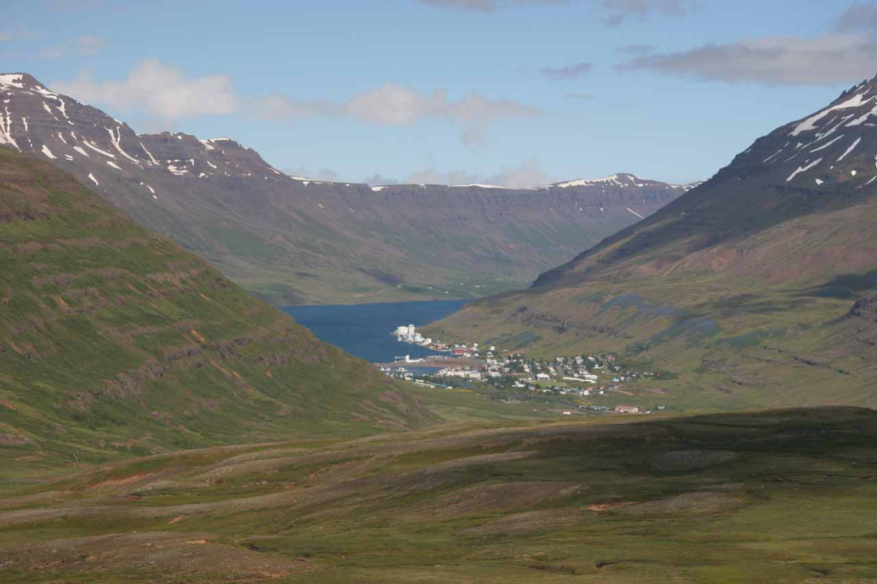 Just on the other side of the pass above Fardagafoss is the pretty town and fjord of Seyðisfjörður
