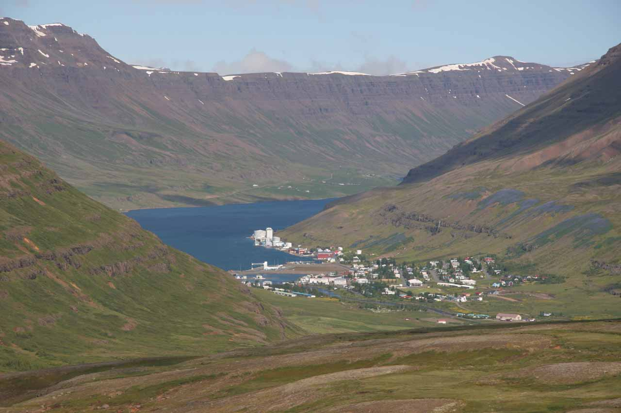 Looking down into the pretty town and fjord of Seyðisfjörður from the pass