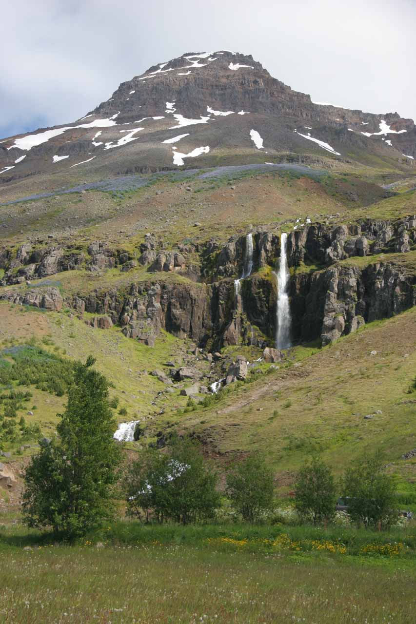 The attractive waterfall within the town of Seyðisfjörður