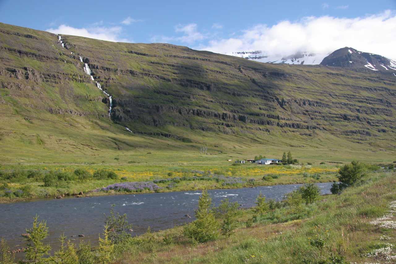Another attractive cascade across the river just west of the town of Seyðisfjörður