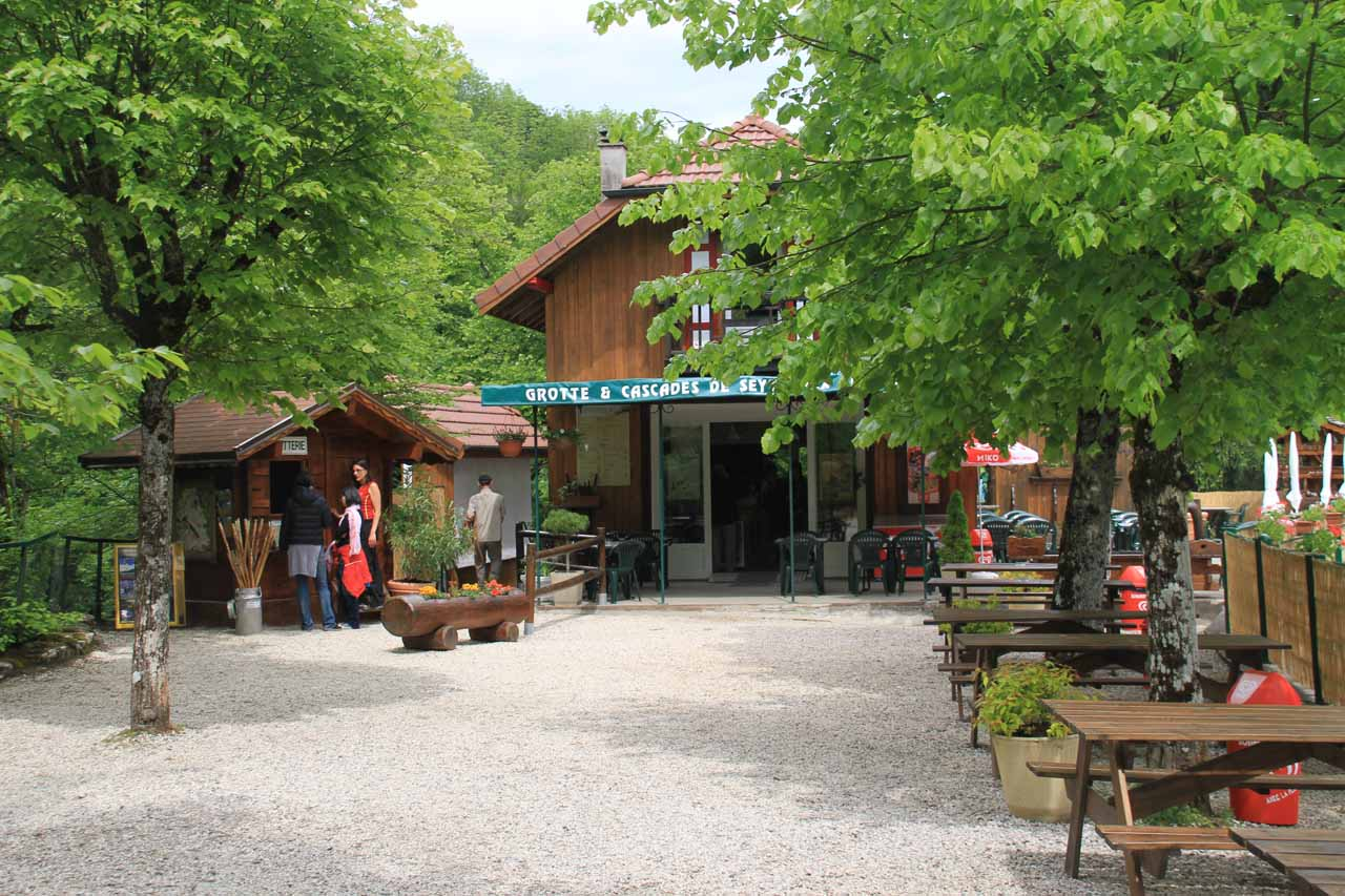 The cafe and admission area for La Grotte et Cascade de Seythenex