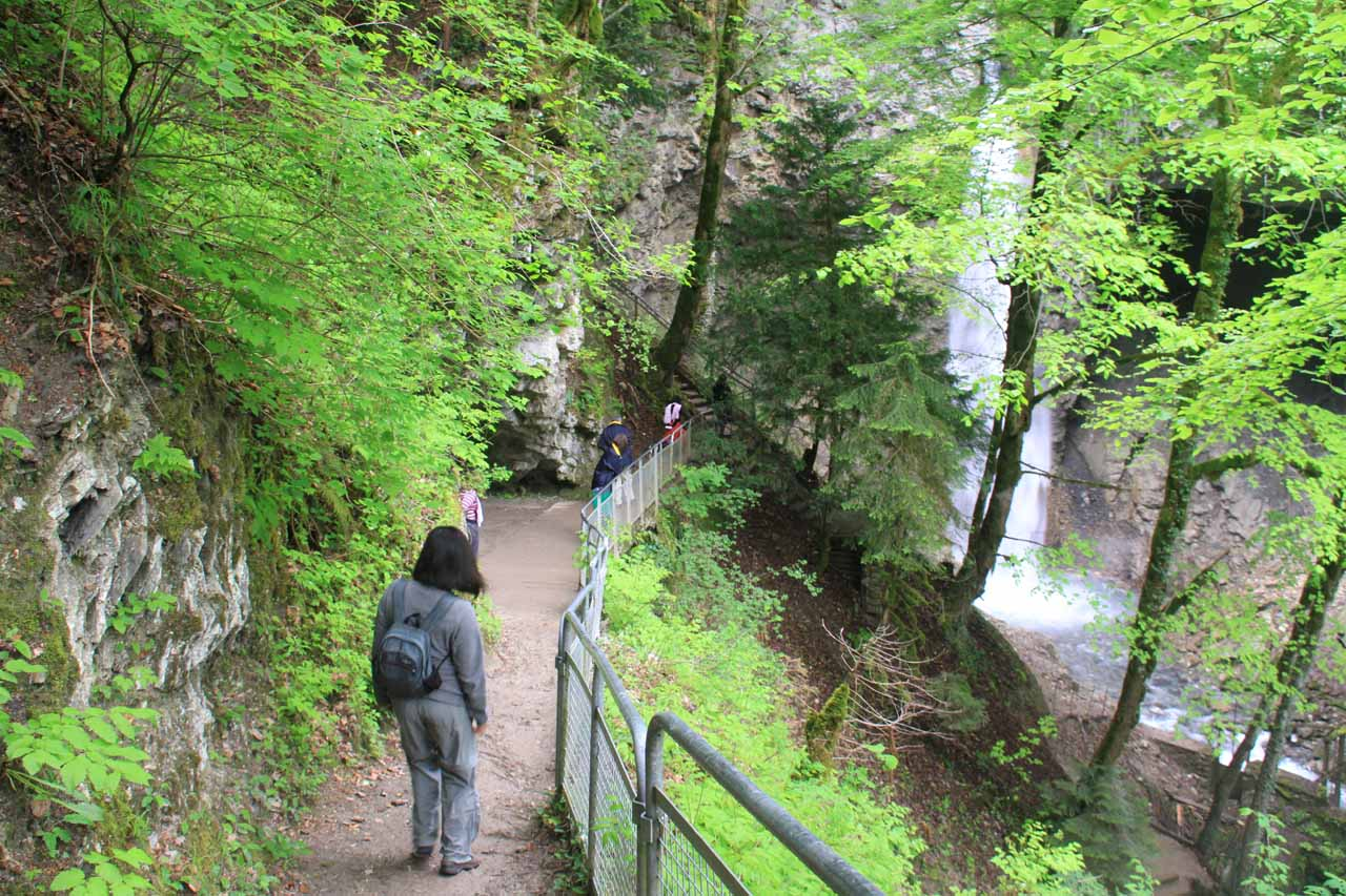 Headed to both the cave and waterfall along the walkway