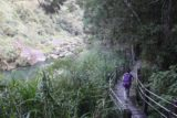 Shanlinhsi_040_10302016 - Mom walking on the wooden path of the Songlong Rock Waterfall as it skirted the river and headed towards a village along the way