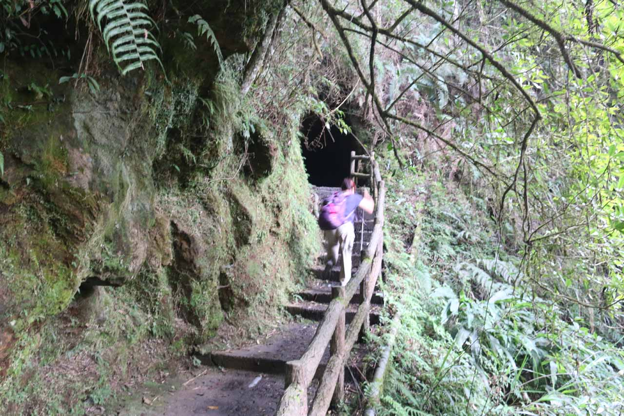 Beyond the Songlong Rock Waterfall, we walked the Tianyen Trail, which led up to this tunnel