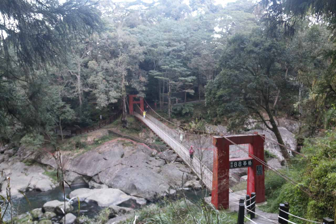 Looking back at the suspension bridge as we were climbing up to the Chinglong Fern Trail