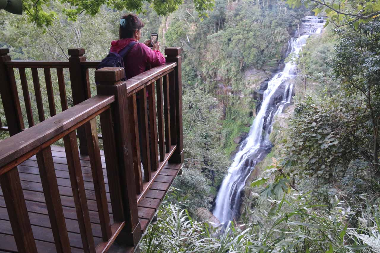 Mom checking out the Chinglong Falls from one of the lookout platforms