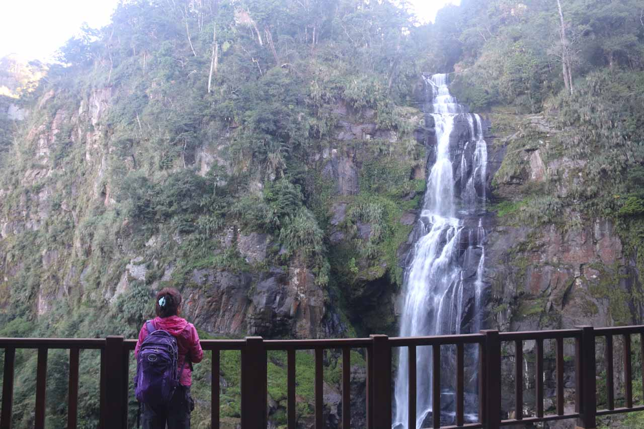 Mom checking out the Chinglong Waterfall from the lower lookout