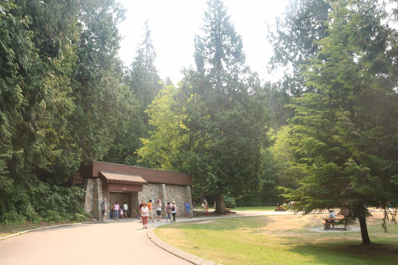 Approaching the restroom facility at the Shannon Falls