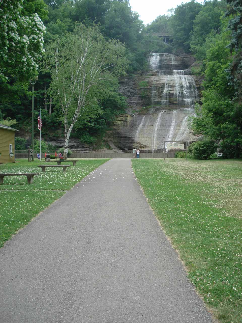 The walk leading up to the falls with flowers blooming on the grass