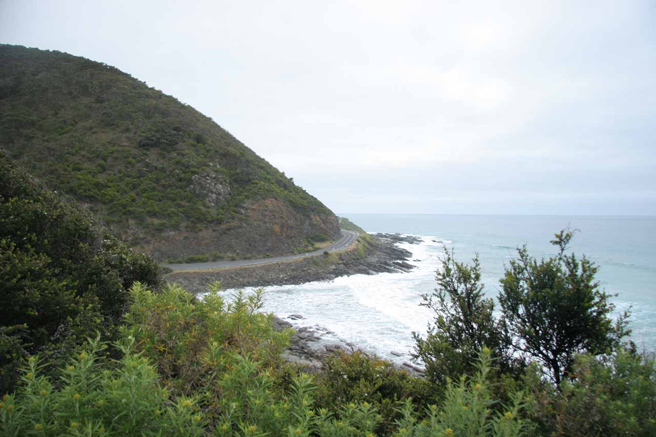 View of the Great Ocean Road and the Southern Ocean from the Sheoak Falls Track