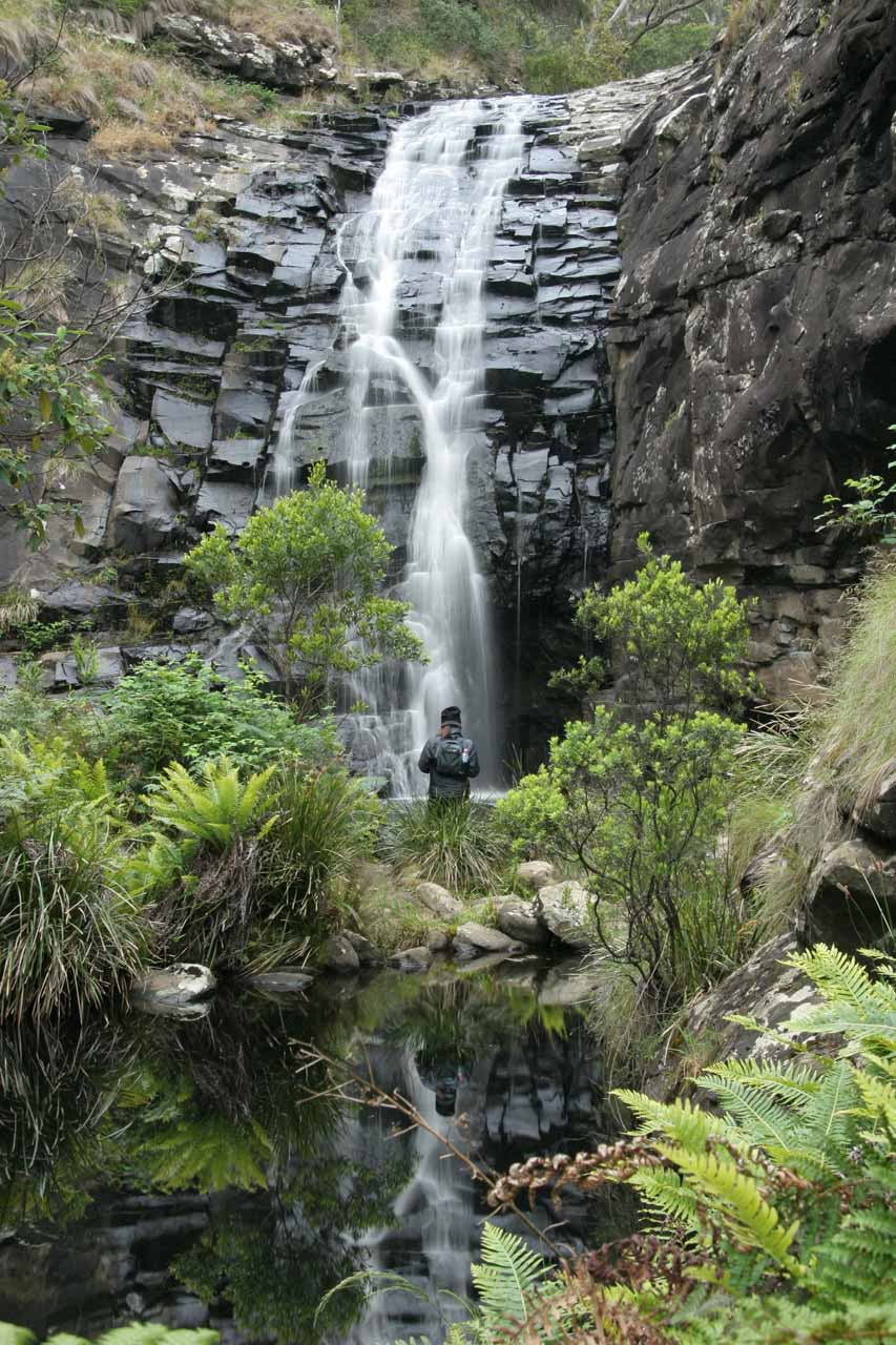 Julie at the plunge pool checking out Sheoak Falls
