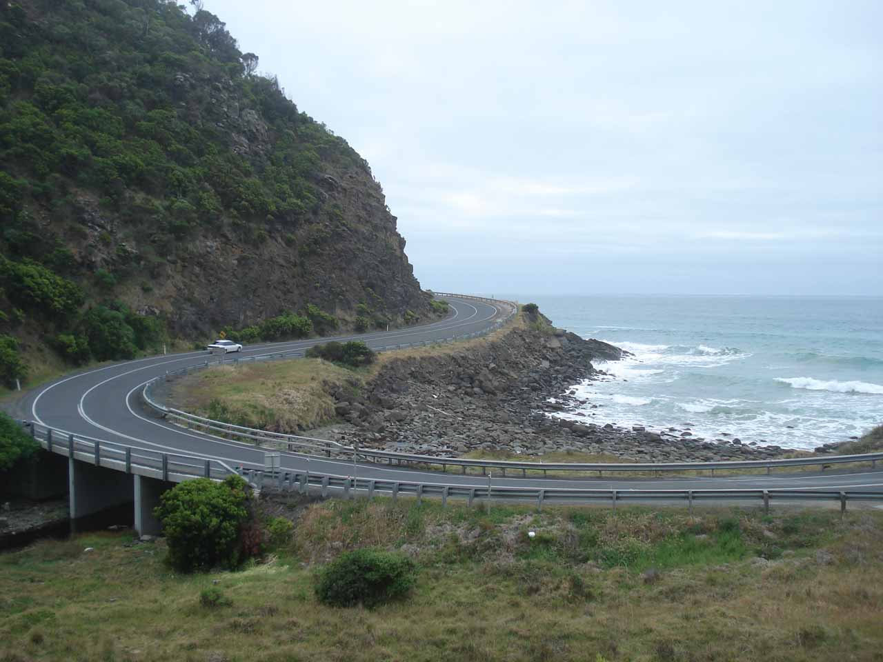 Looking back down at the Great Ocean Road